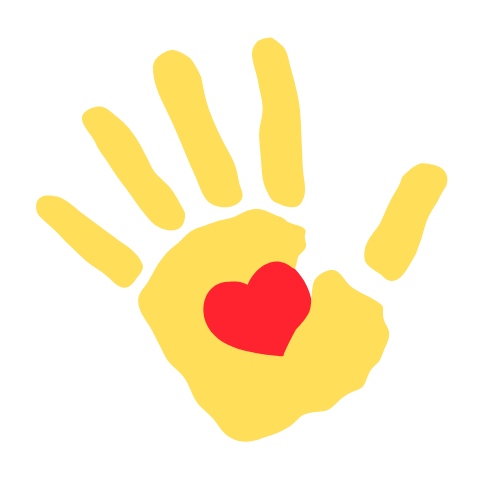 Yellow hand with heart
